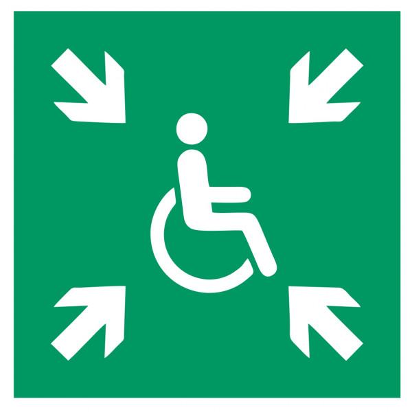 Fluchtwegeschild-6-E024-Vorläufige Evakuierungsstelle-DIN EN ISO 7010 Fluchtwegzeichen