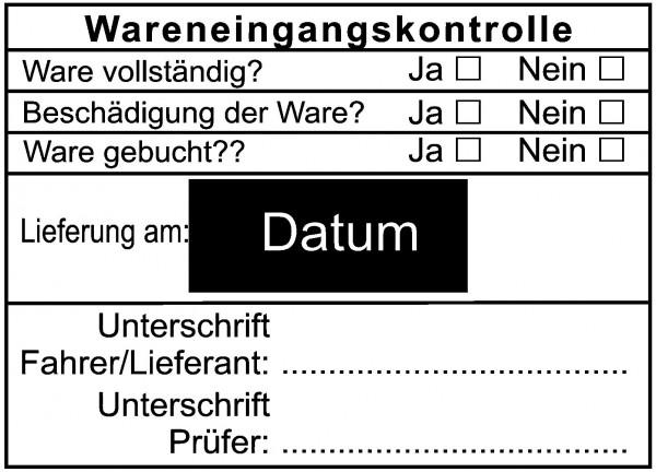Wareneingangsstempel · Kontrollstempel mit Datum