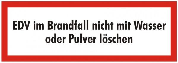 Brandschutzzeichen-9-EDV im Brandfall nicht mit Wasser oder Pulver löschen-Textschild DIN 4066 Brand