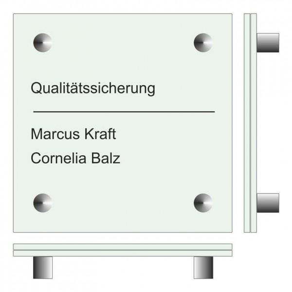 150 x 150 x (2 Stück) 4 mm Glasschild Set ESG-Echtglas mit 4 Wandhalter aus Edelstahl