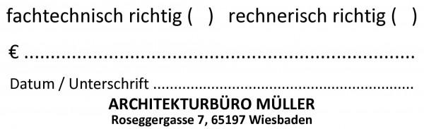 25x82 mm · fachtechnisch rechnerisch richtig · Kontrollstempel · Architektenstempel · Planerstempe