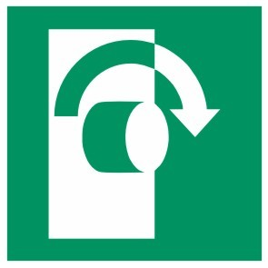 Fluchtwegeschild-6-E019-Öffnung durch Rechtsdrehung-DIN EN ISO 7010 Fluchtwegzeichen