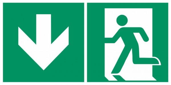 Fluchtwegeschild-6-E001 + Zusatzzeichen-Notausgang links mit Richtungspfeil abwärts-DIN EN ISO 7010