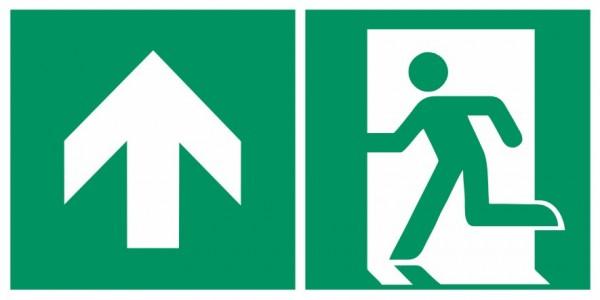 Fluchtwegeschild-6-E001 + Zusatzzeichen-Notausgang links mit Richtungspfeil aufwärts / geradeaus-DIN