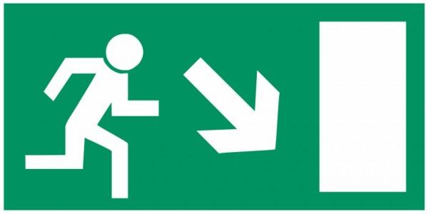 Fluchtwegeschild-6-E013 Rettungsweg rechts abwärts-BGV A8 Fluchtwegschilder