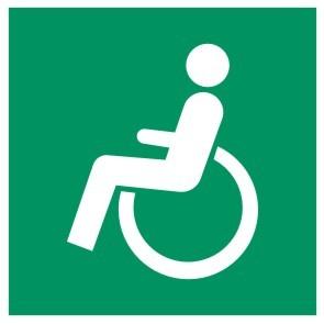 Fluchtwegeschild-6-Exxx-Rettungsweg - Notausgang für Rollstuhlfahrer links-DIN EN ISO 7010 Fluchtweg