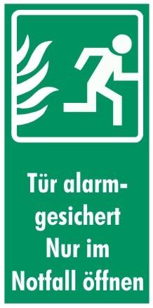 Fluchtwegeschild-7-Tür alarmgesichert! Nur im Notfall öffnen 7,4 x 14,8 cm Zusatzzeichen