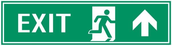 Fluchtwegeschild-7-EXIT rechts aufwärts 39 x 11,5 cm Zusatzzeichen