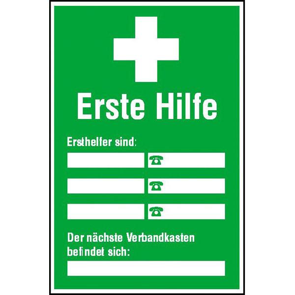 Aushang - Erste Hilfe - Ersthelfer Verzeichnis