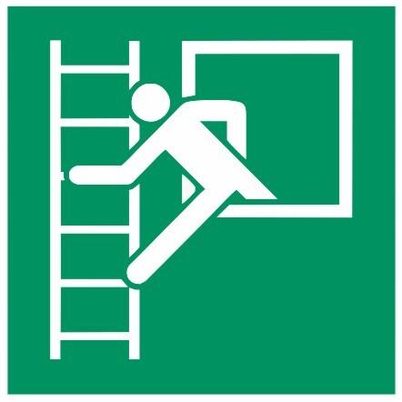 Fluchtwegeschild-6-E016-Notausstieg mit Fluchtleiter links-DIN EN ISO 7010 Fluchtwegzeichen