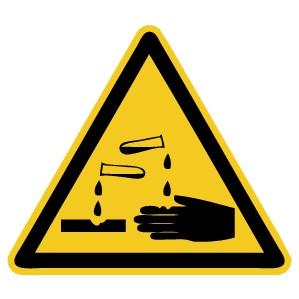 Warnzeichen-4-W023-Warnung vor ätzenden Stoffen-DIN EN ISO 7010