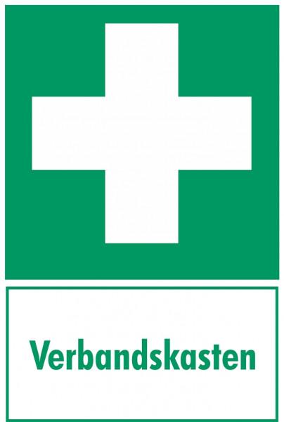 Fluchtwegeschild-6-E003- Erste Hilfe Kombischild mit Zusatztext Verbandskasten