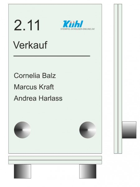 160 x 100 x (2 Stück) 4 mm Glasschild Set ESG-Echtglas mit 2 Wandhalter aus Edelstahl