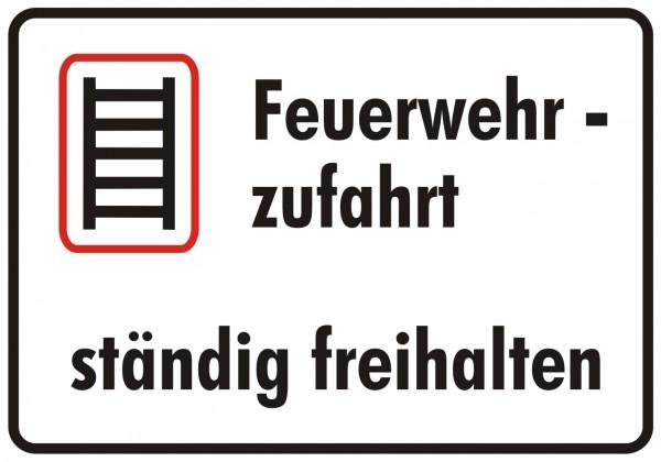 Feuerwehrschild 50 x 35 cm Feuerwehrzufahrt ständig freihalten sw