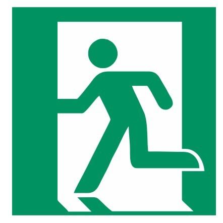 Fluchtwegeschild-6-E001-Rettungsweg - Notausgang links-DIN EN ISO 7010 Fluchtwegzeichen