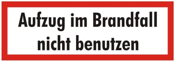 Brandschutzzeichen-9-Aufzug im Brandfall nicht benutzen-Textschild DIN 4066 Brandschutzschilder