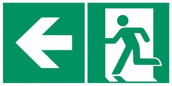 Fluchtwegeschild-6-E001 + Zusatzzeichen-Notausgang links mit Richtungspfeil links-DIN EN ISO 7010 Fl