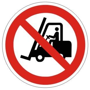 Verbotszeichen-1-P006-Für Flurförderfahrzeuge verboten-DIN EN ISO 7010