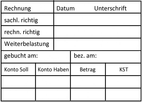 49x68 mm · Rechnungsstempel · Buchungsstempel · Verwaltungsstempel · Abrechnungsstempel