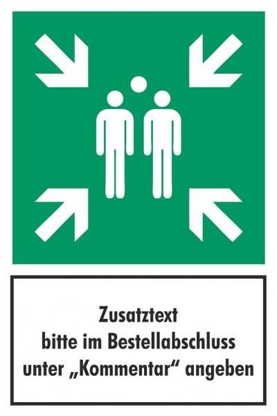Fluchtwegschild Sammelstelle mit Zusatztext Alu 420 x 630mm