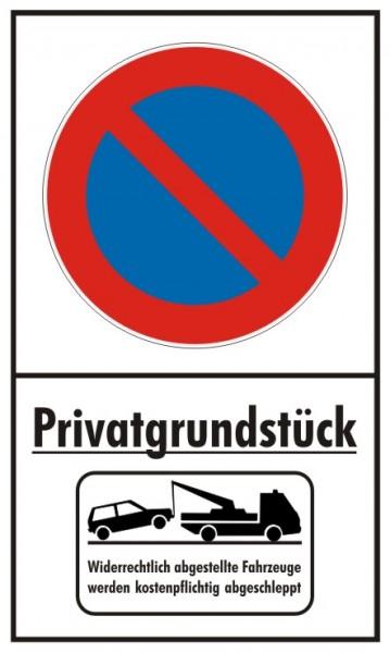 Privatgrundstück Parkverbot Eingeschränkt Hochformat mit Abschleppsymbol