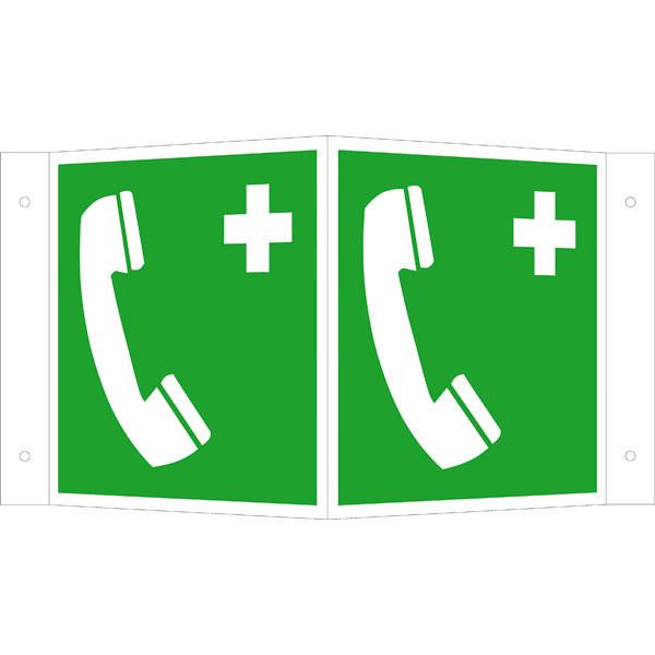 Fluchtwegeschild-6-E011- Winkelschild Notruftelefon
