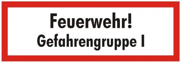 Brandschutzzeichen-9-Feuerwehr Gefahrengruppe 1-Textschild DIN 4066 Brandschutzschilder
