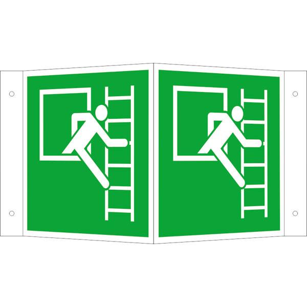 Fluchtwegeschild-6-E016-Winkelschild Notausstieg mit Fluchtleiter rechts-lang nachleuchtend