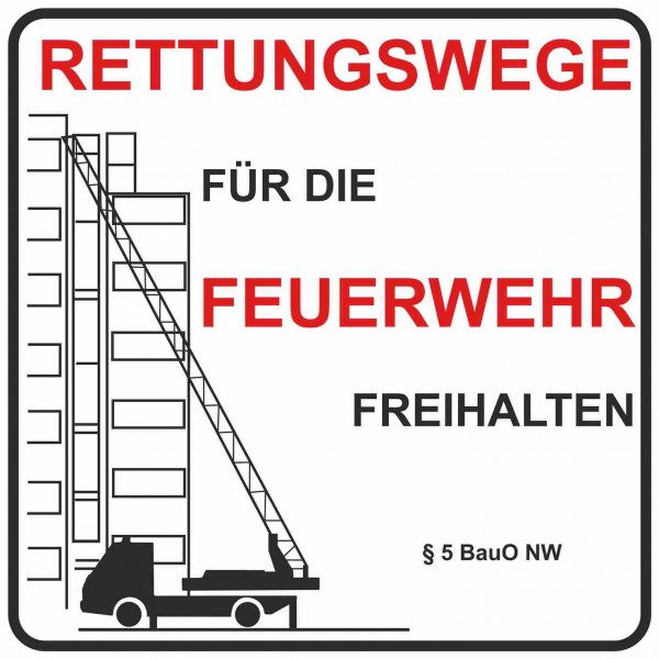 Feuerwehrschild 50 x 50 cm Rettungsweg für die Feuerwehr freihalten § 5 BauO NW