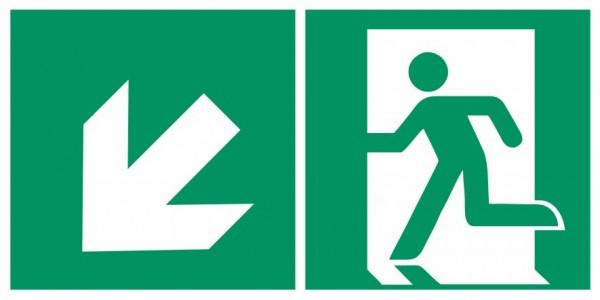 Fluchtwegeschild-6-E001 + Zusatzzeichen-Notausgang links mit Richtungspfeil links abwärts-DIN EN ISO