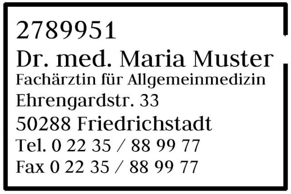 30x45 mm · Kassenarztstempel · Praxisstempel · Arztstempel · Rezeptstempel
