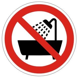 Verbotszeichen-1-P026-Verbot dieses Gerät in der Badewanne, Dusche oder über mit Wasser gefülltem Be