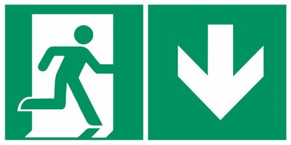 Fluchtwegeschild-6-E002 + Zusatzzeichen-Notausgang rechts mit Richtungspfeil unten-DIN EN ISO 7010 F