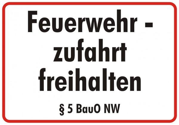 Feuerwehrschild 50 x 35 cm Feuerwehr zufahrt freihalten § 5 BauO NW