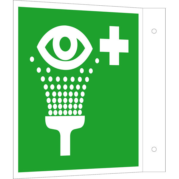 Fluchtwegeschild-6-E011- Fahnenschild Augenspüleinrichtung