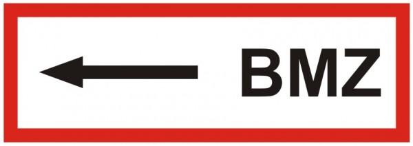 Brandschutzzeichen-9-BMZ Pfeil links -Textschild DIN 4066 Brandschutzzeichen